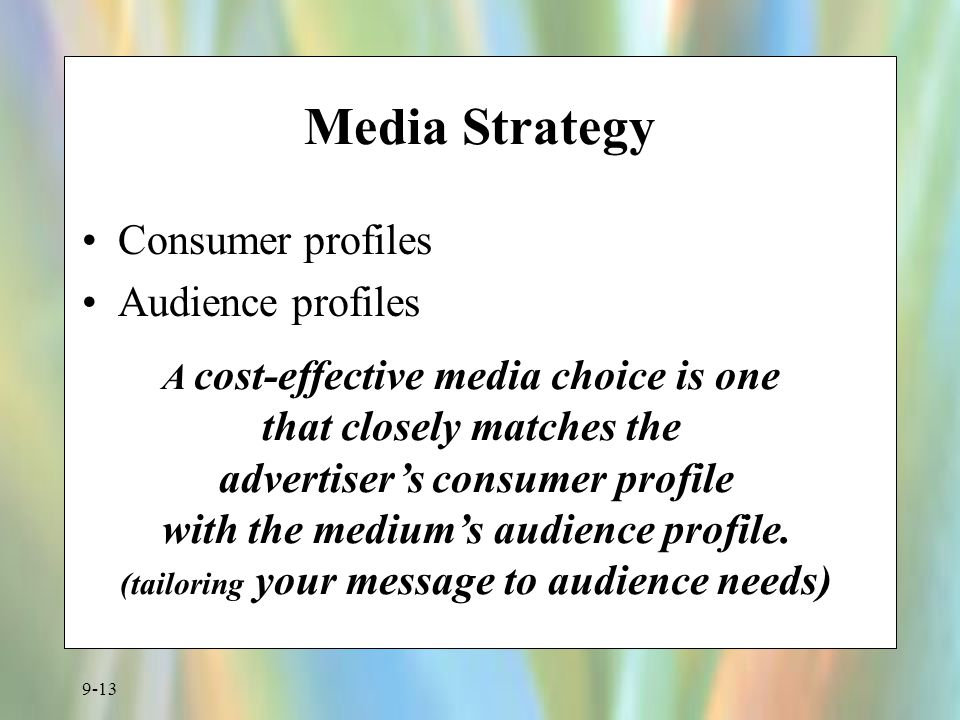 Media Strategy Consumer profiles Audience profiles