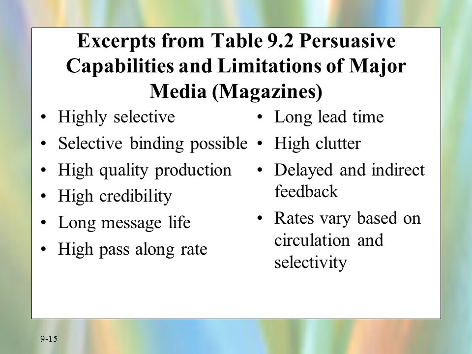 Excerpts from Table 9.2 Persuasive Capabilities and Limitations of Major Media (Magazines)