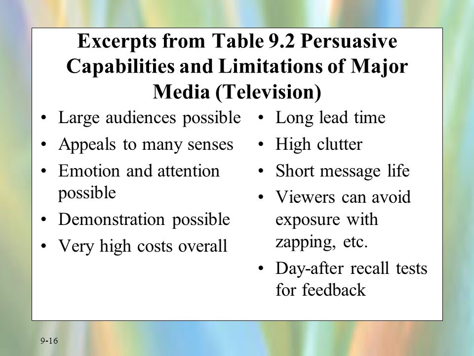 Excerpts from Table 9.2 Persuasive Capabilities and Limitations of Major Media (Television)