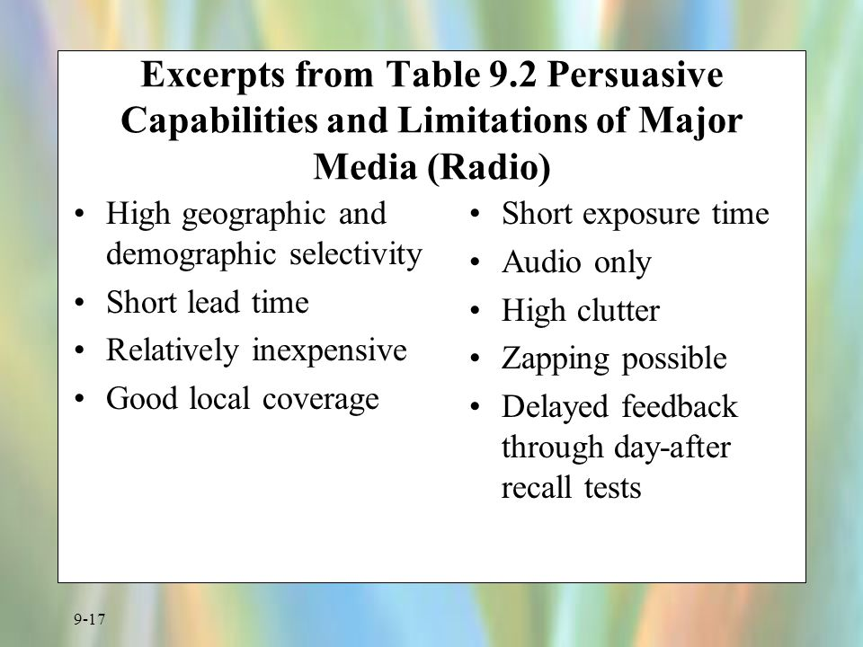 Excerpts from Table 9.2 Persuasive Capabilities and Limitations of Major Media (Radio)