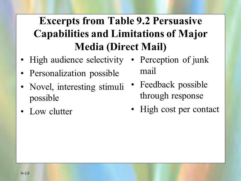 Excerpts from Table 9.2 Persuasive Capabilities and Limitations of Major Media (Direct Mail)