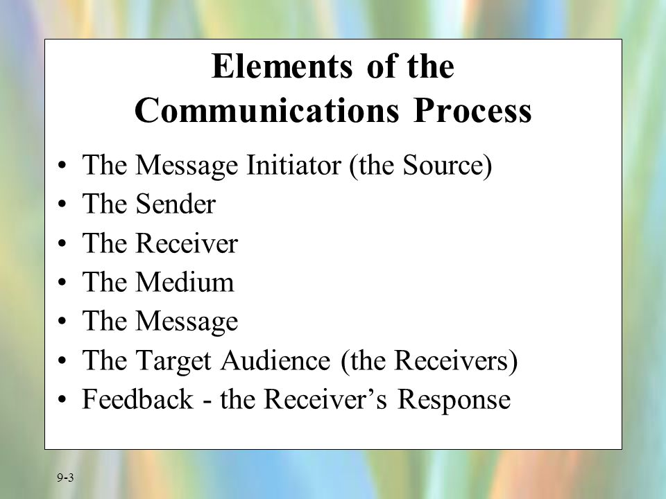 Elements of the Communications Process