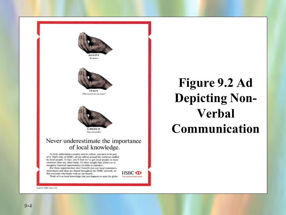 Figure 9.2 Ad Depicting Non-Verbal Communication