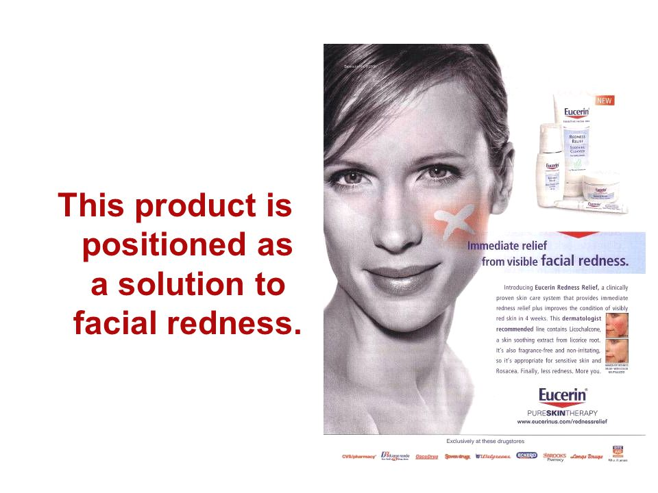 This product is positioned as a solution to facial redness.