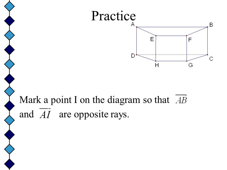 Practice Mark a point I on the diagram so that and are opposite rays.