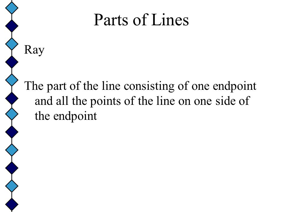 Parts of Lines Ray The part of the line consisting of one endpoint and all the points of the line on one side of the endpoint