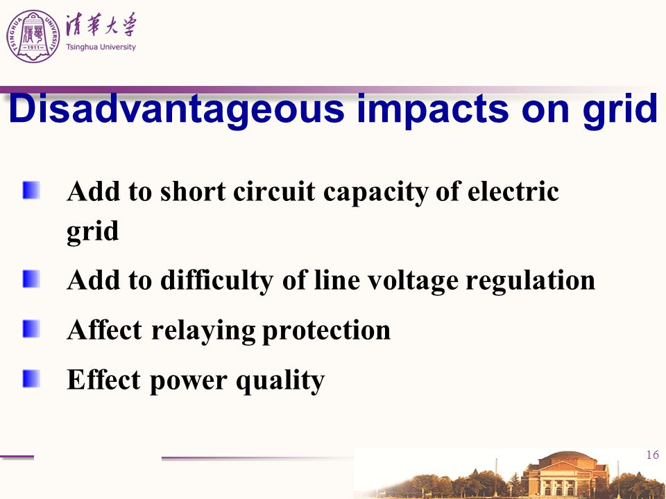 Disadvantageous impacts on grid
