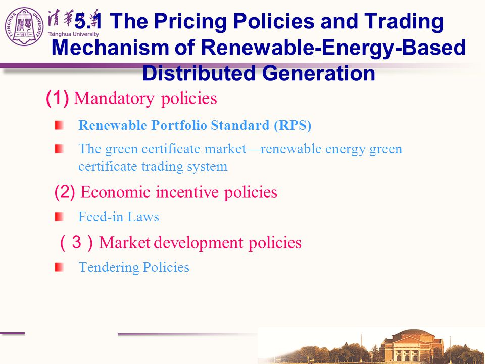 5.1 The Pricing Policies and Trading Mechanism of Renewable-Energy-Based Distributed Generation