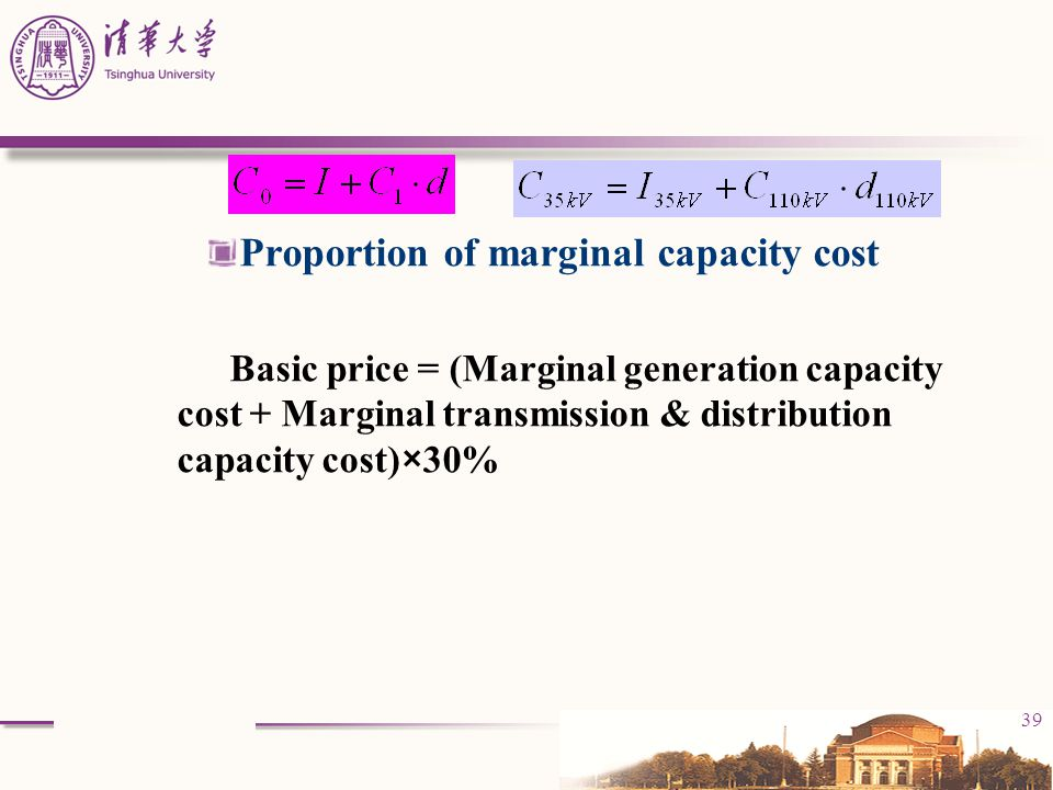 Proportion of marginal capacity cost