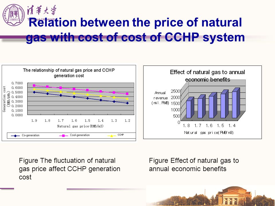 Relation between the price of natural gas with cost of cost of CCHP system