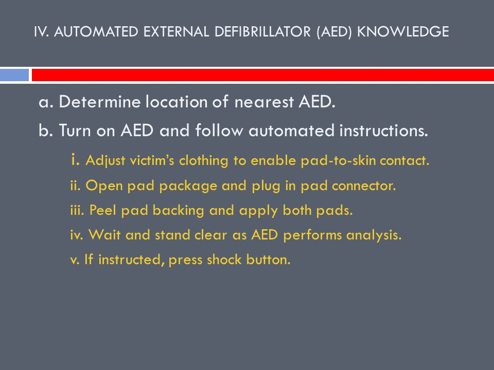 IV. AUTOMATED EXTERNAL DEFIBRILLATOR (AED) KNOWLEDGE