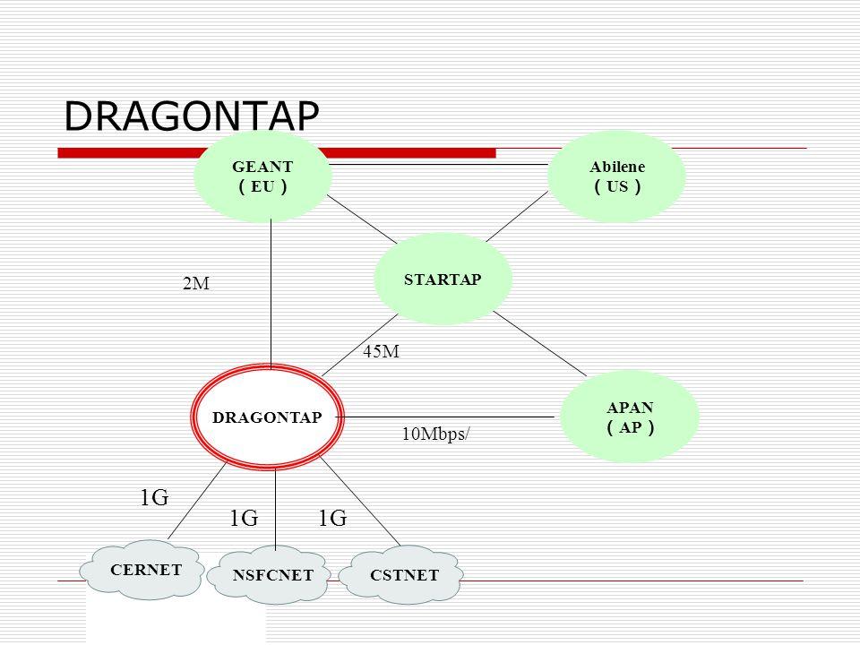 DRAGONTAP 1G 1G 1G 2M 45M 10Mbps/ CERNET NSFCNET CSTNET GEANT (EU)
