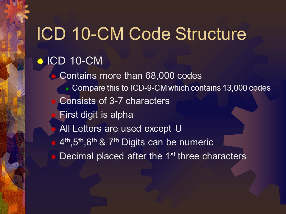 ICD 10-CM Code Structure ICD 10-CM Contains more than 68,000 codes