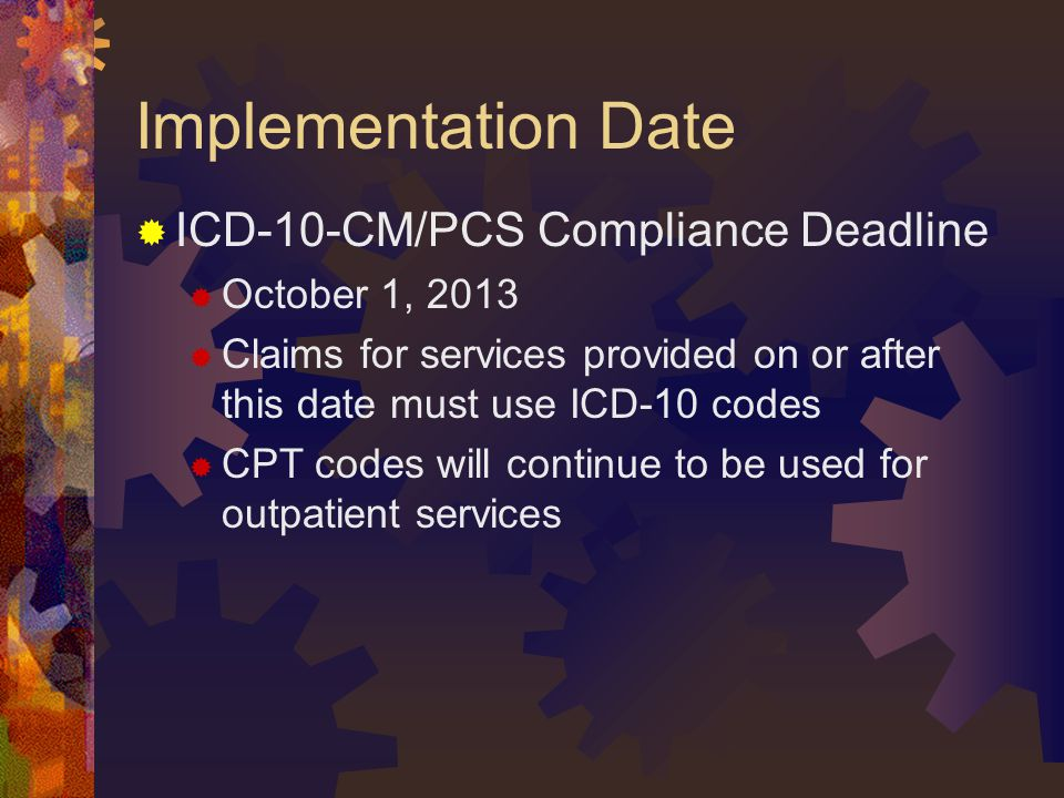 Implementation Date ICD-10-CM/PCS Compliance Deadline October 1, 2013