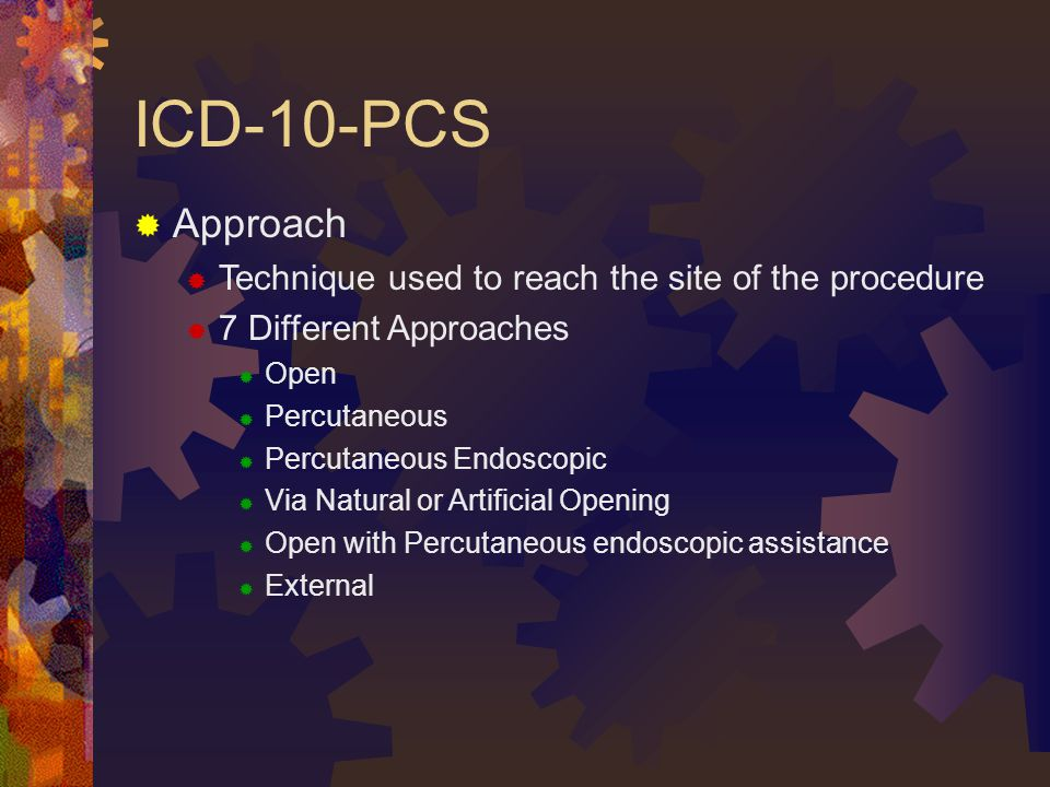 ICD-10-PCS Approach Technique used to reach the site of the procedure