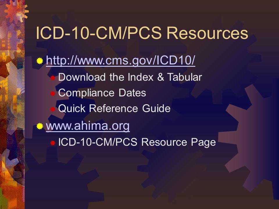 ICD-10-CM/PCS Resources