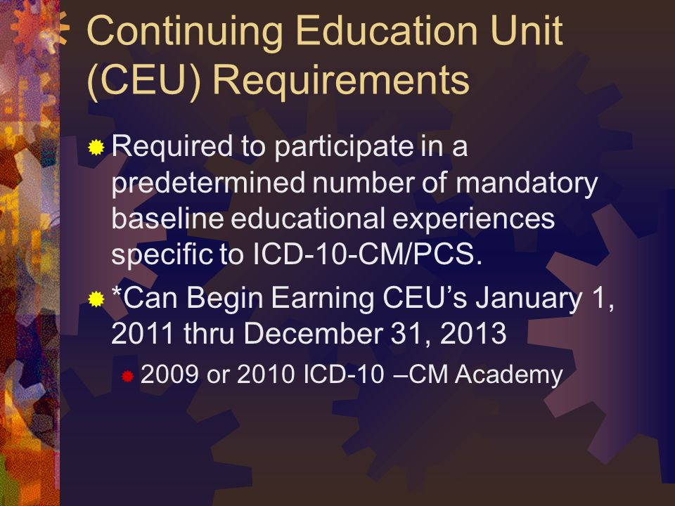 Continuing Education Unit (CEU) Requirements
