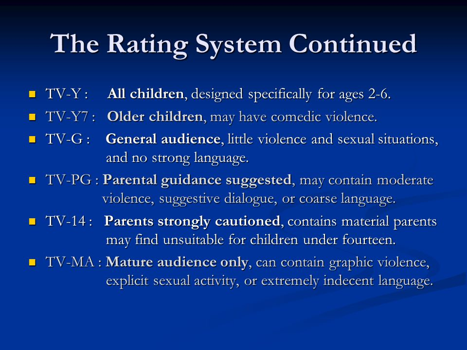 The Rating System Continued