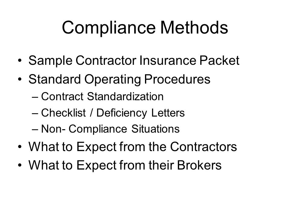 Compliance Methods Sample Contractor Insurance Packet