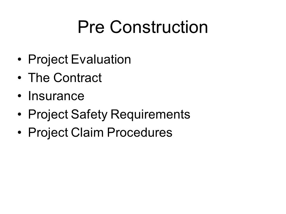 Pre Construction Project Evaluation The Contract Insurance