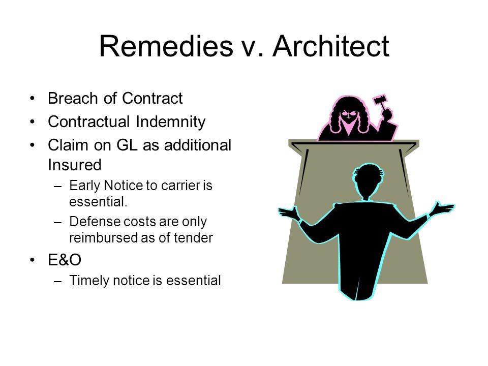 Remedies v. Architect Breach of Contract Contractual Indemnity