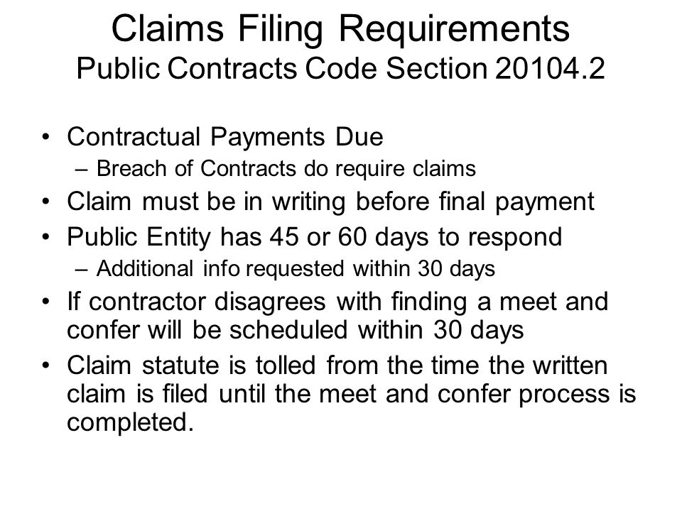 Claims Filing Requirements Public Contracts Code Section 20104.2