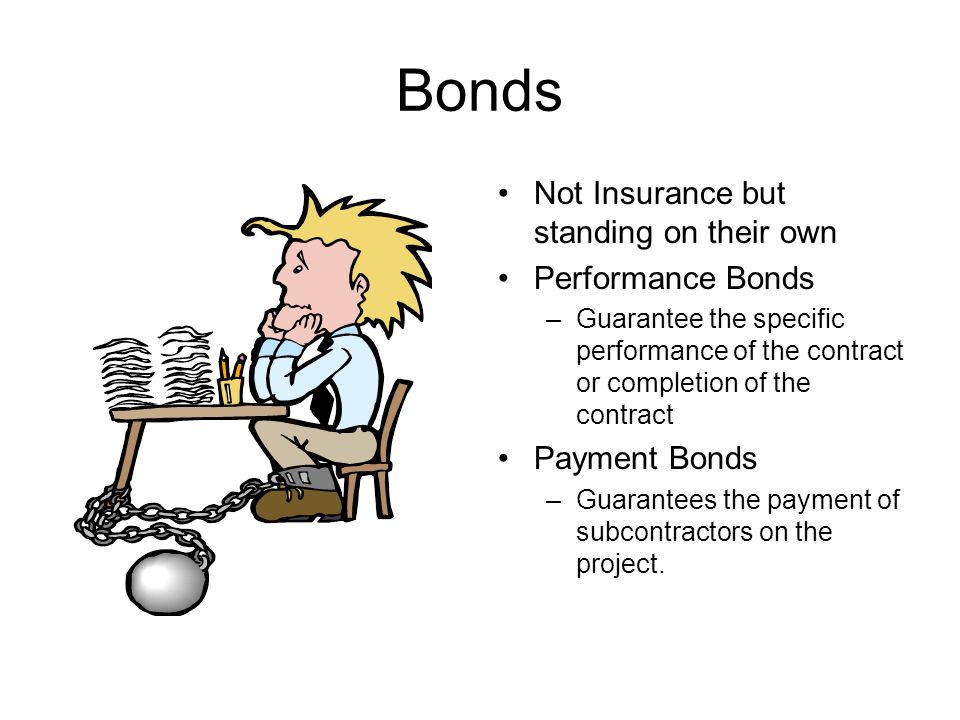 Bonds Not Insurance but standing on their own Performance Bonds