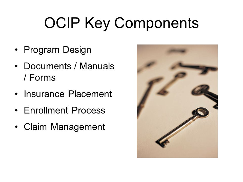 OCIP Key Components Program Design Documents / Manuals / Forms