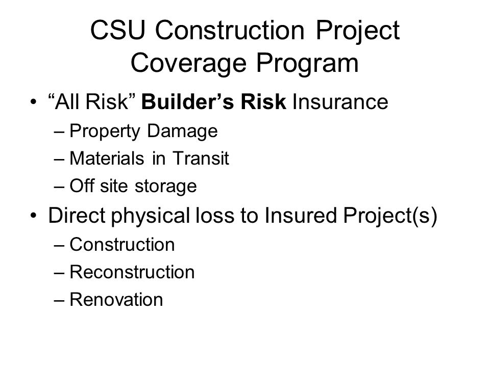 CSU Construction Project Coverage Program