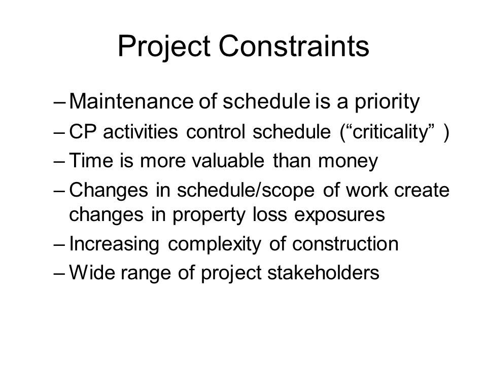 Project Constraints Maintenance of schedule is a priority
