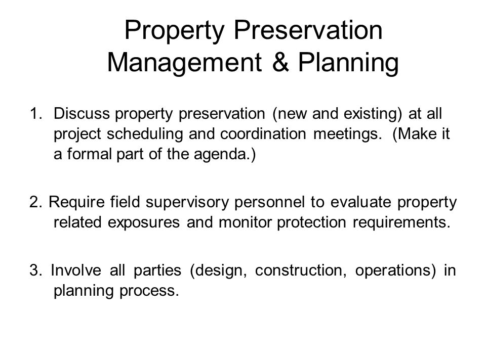 Property Preservation Management & Planning