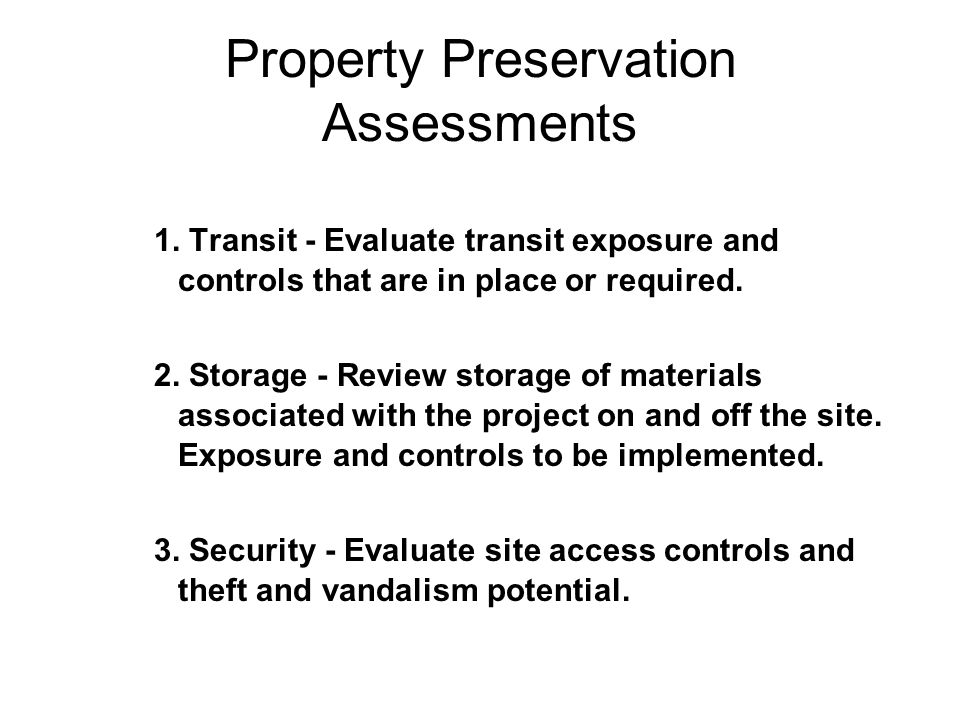 Property Preservation Assessments