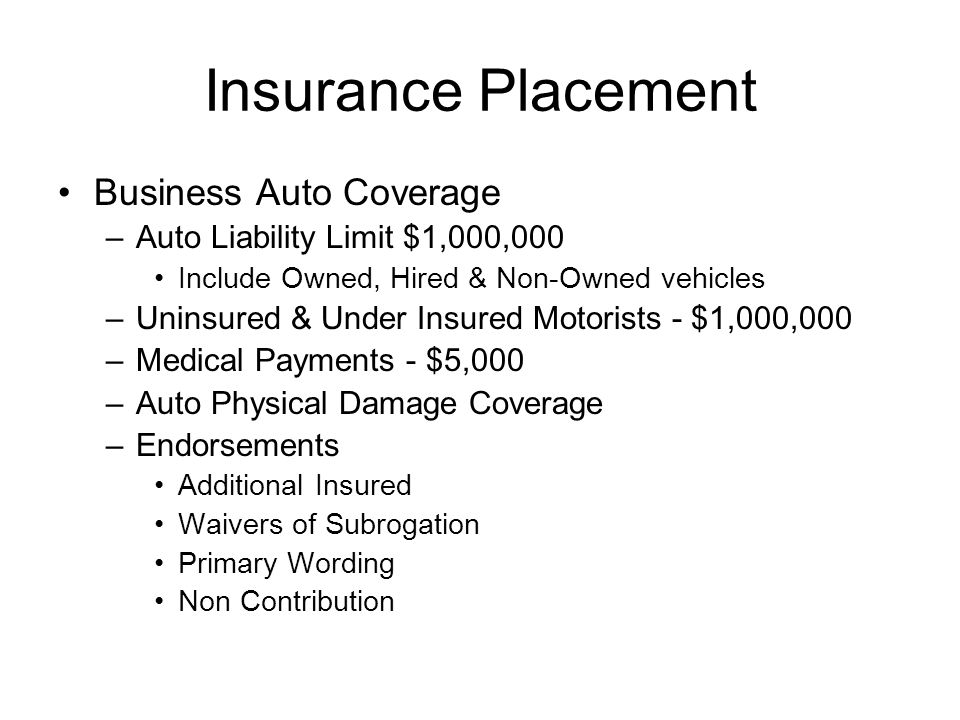 Insurance Placement Business Auto Coverage