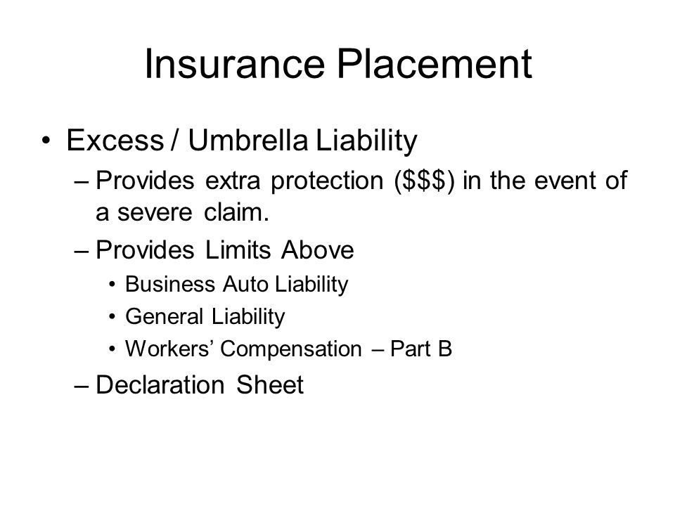 Insurance Placement Excess / Umbrella Liability