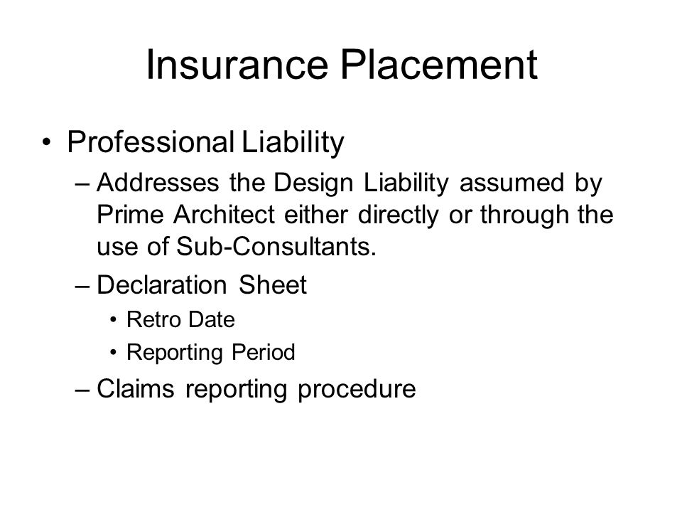 Insurance Placement Professional Liability