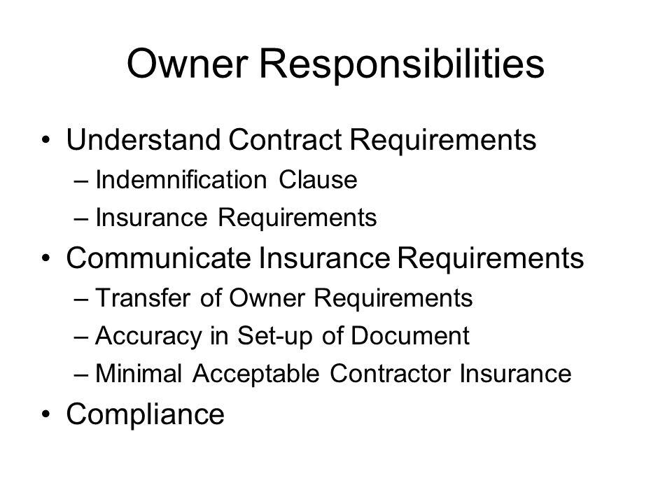 Owner Responsibilities