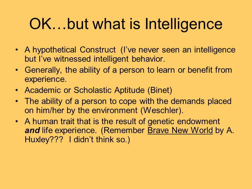 OK…but what is Intelligence