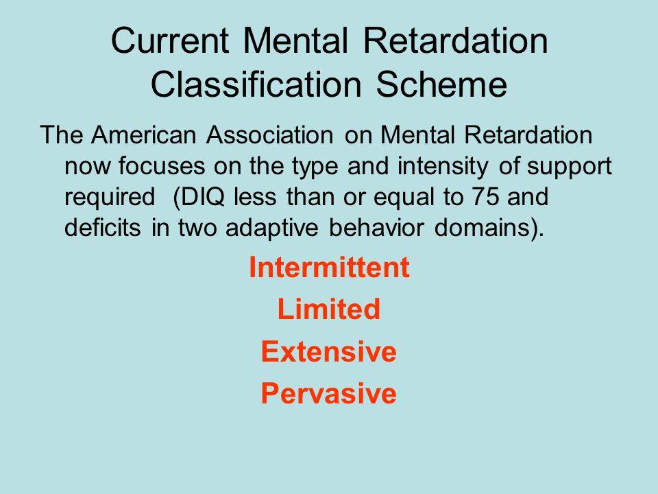 Current Mental Retardation Classification Scheme