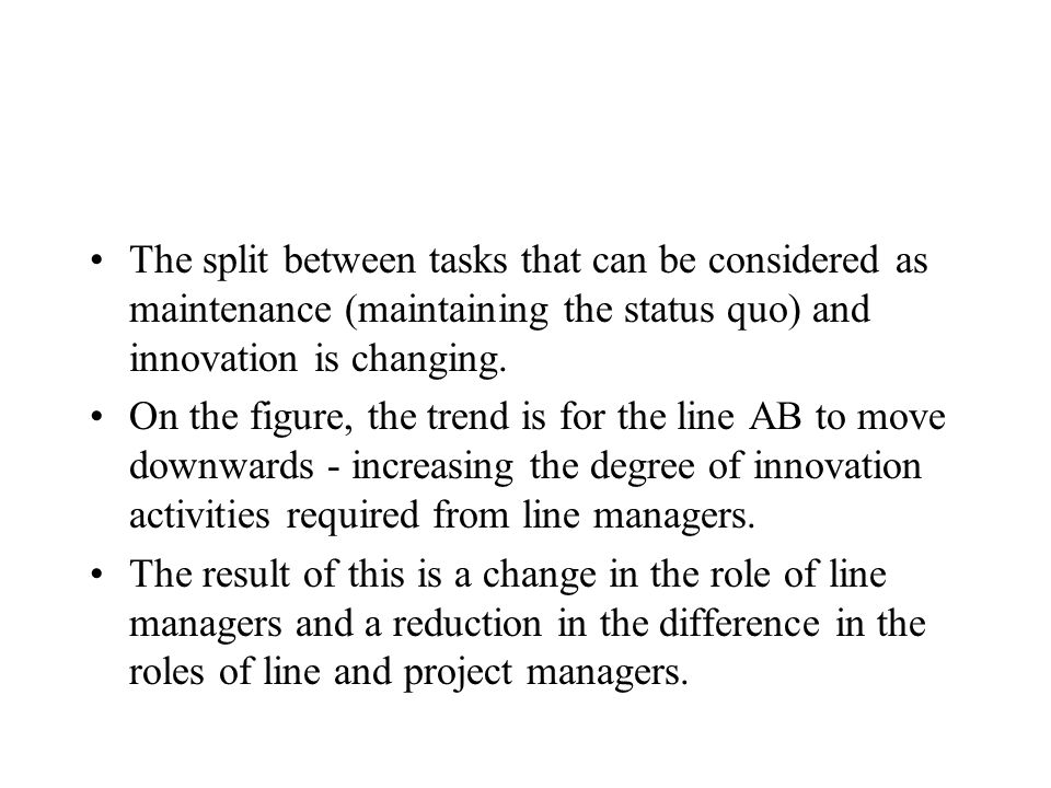 The split between tasks that can be considered as maintenance (maintaining the status quo) and innovation is changing.