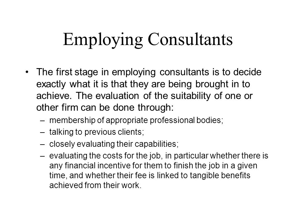 Employing Consultants