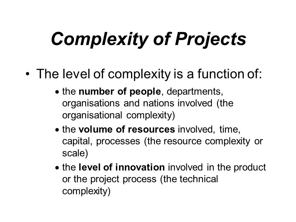 Complexity of Projects