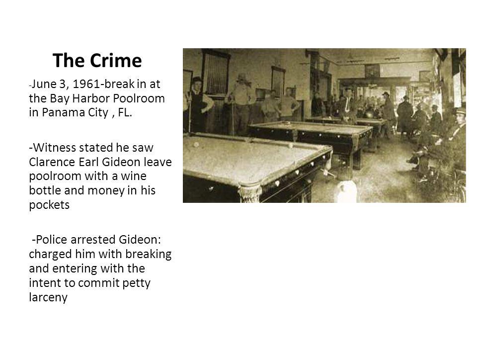 The Crime -June 3, 1961-break in at the Bay Harbor Poolroom in Panama City , FL.