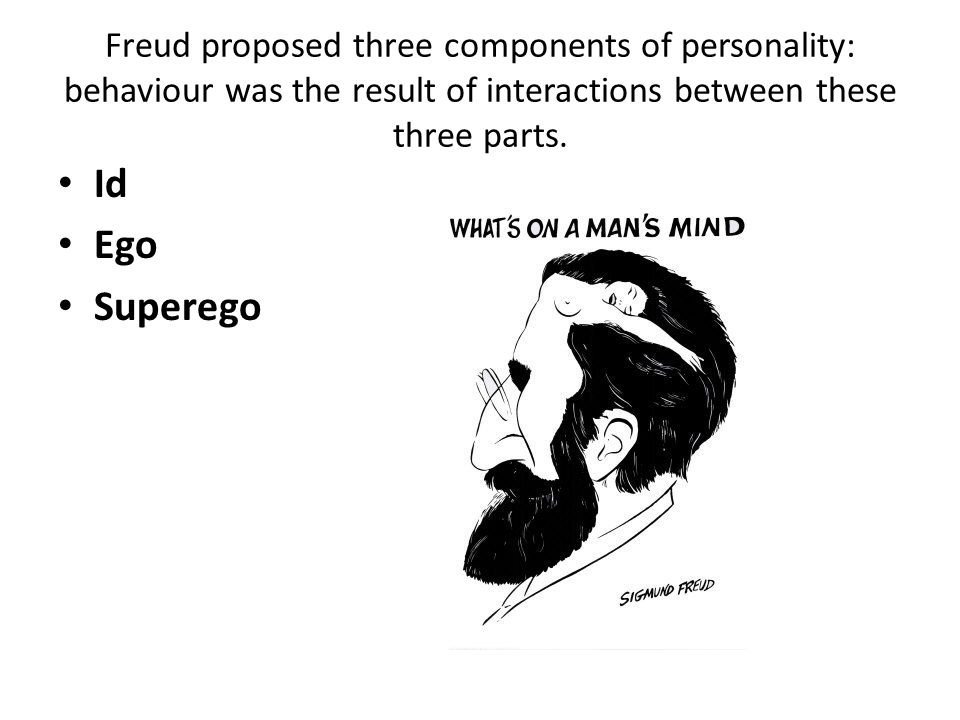 Freud proposed three components of personality: behaviour was the result of interactions between these three parts.