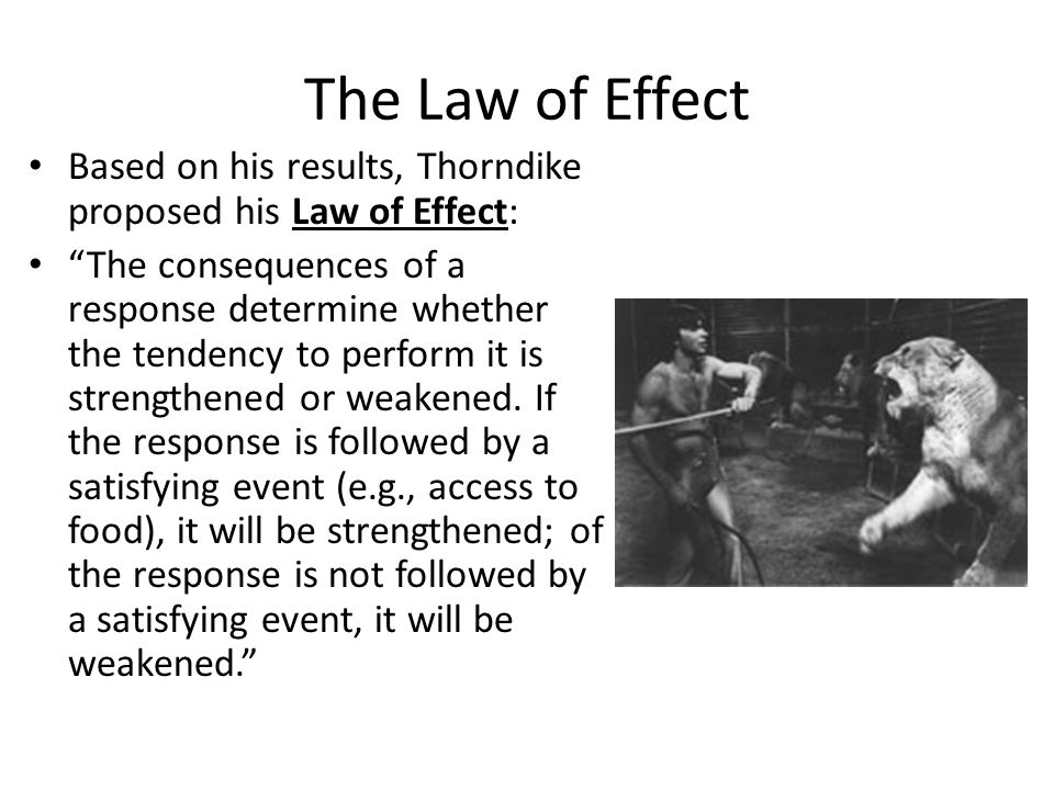 The Law of Effect Based on his results, Thorndike proposed his Law of Effect: