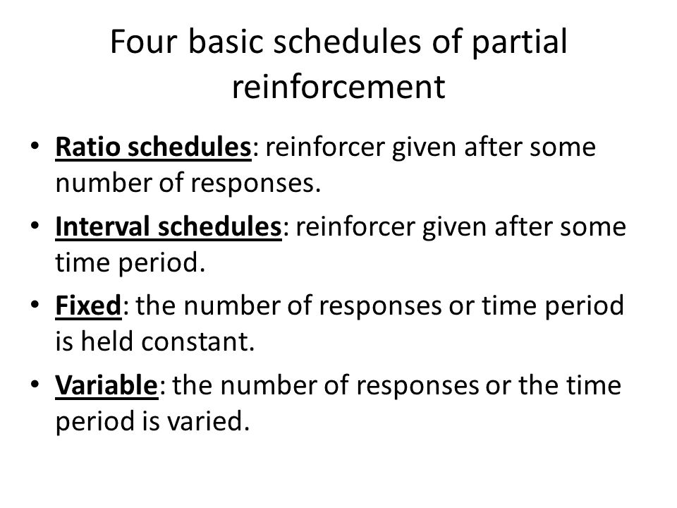 Four basic schedules of partial reinforcement