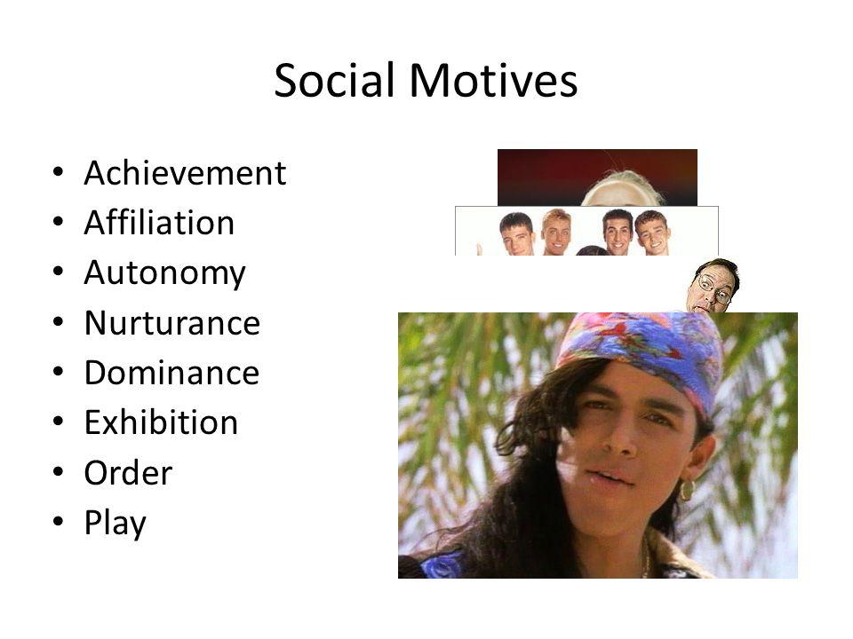 Social Motives Achievement Affiliation Autonomy Nurturance Dominance