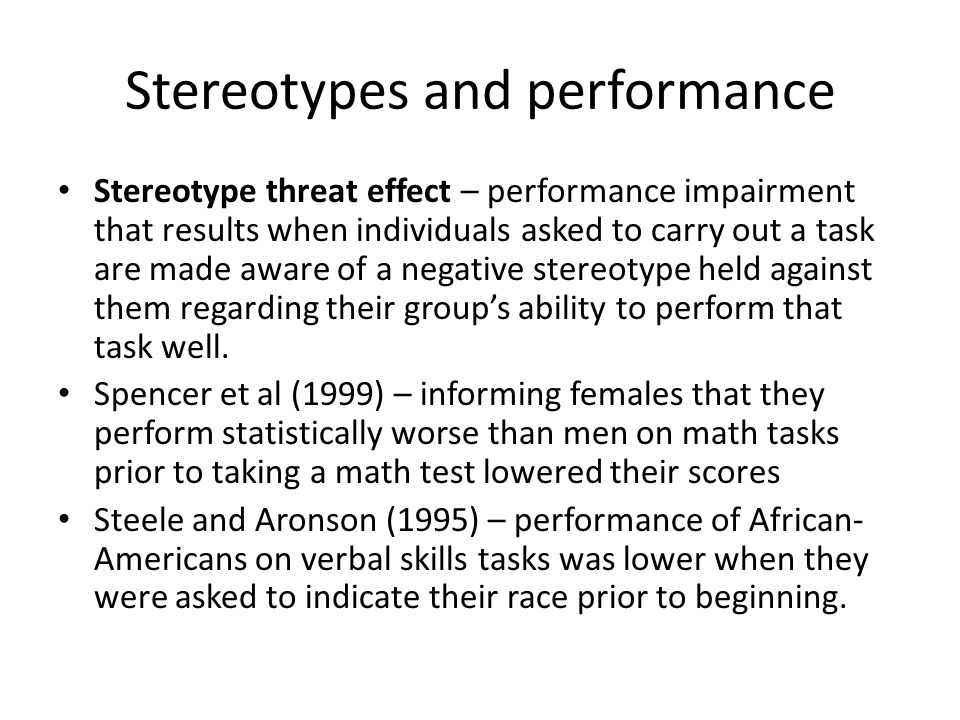 Stereotypes and performance