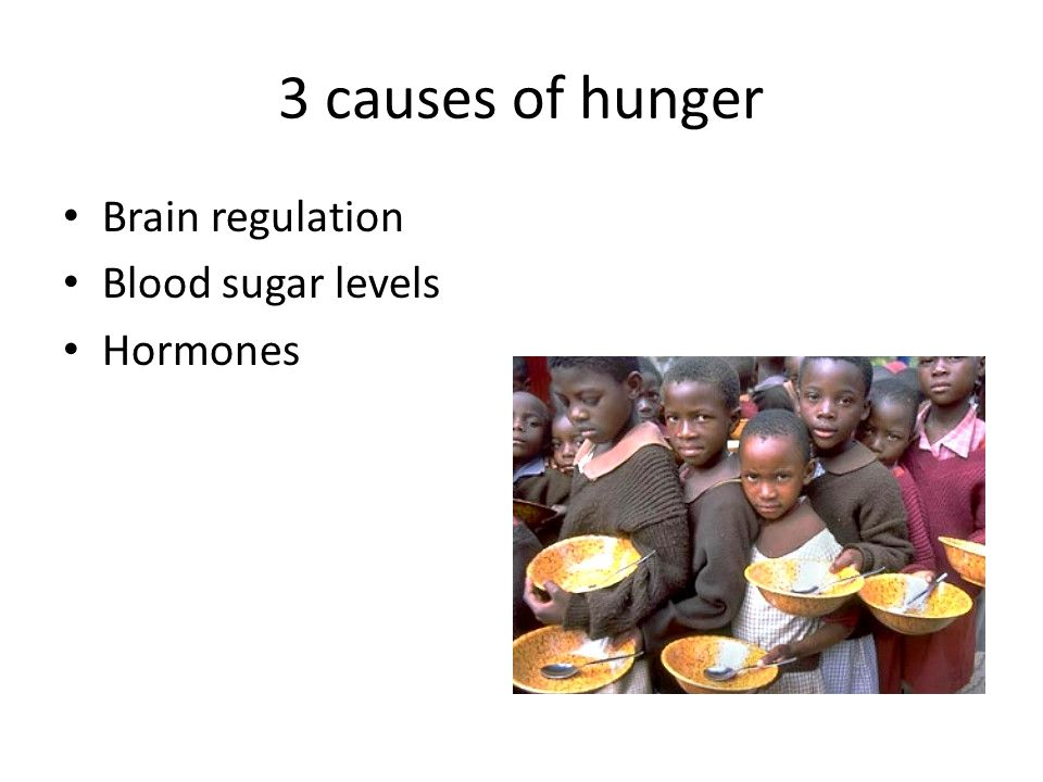 3 causes of hunger Brain regulation Blood sugar levels Hormones