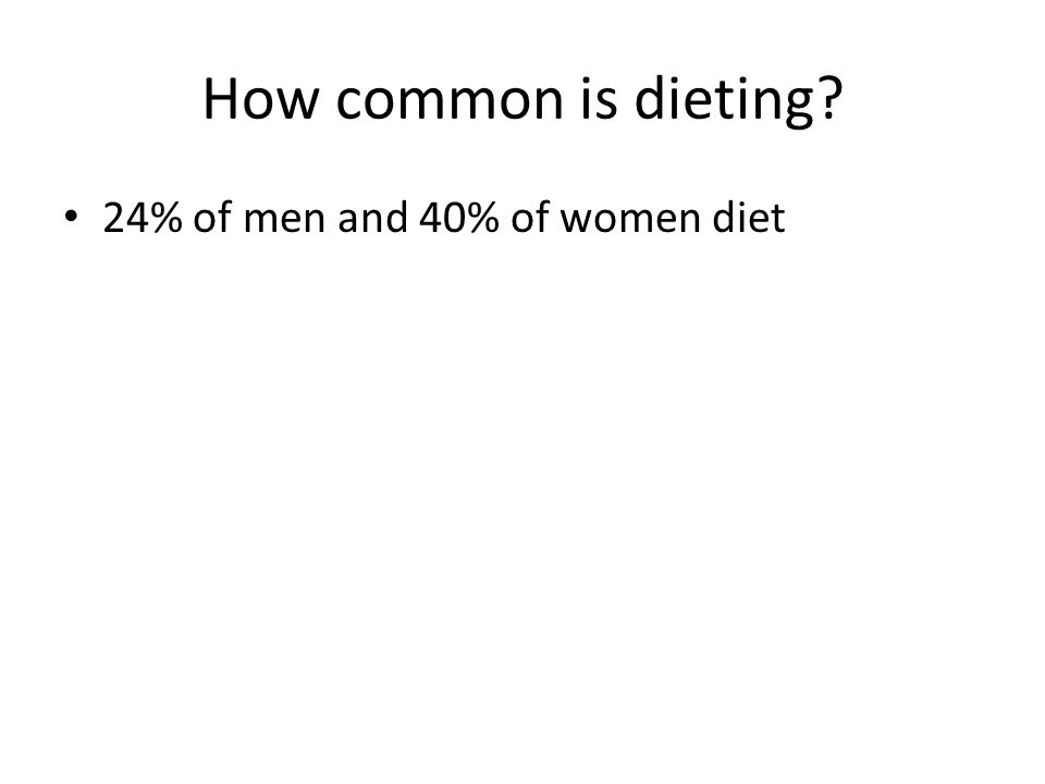 How common is dieting 24% of men and 40% of women diet