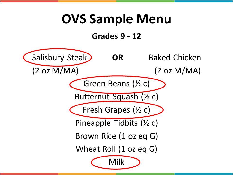 OVS Sample Menu Grades 9 - 12